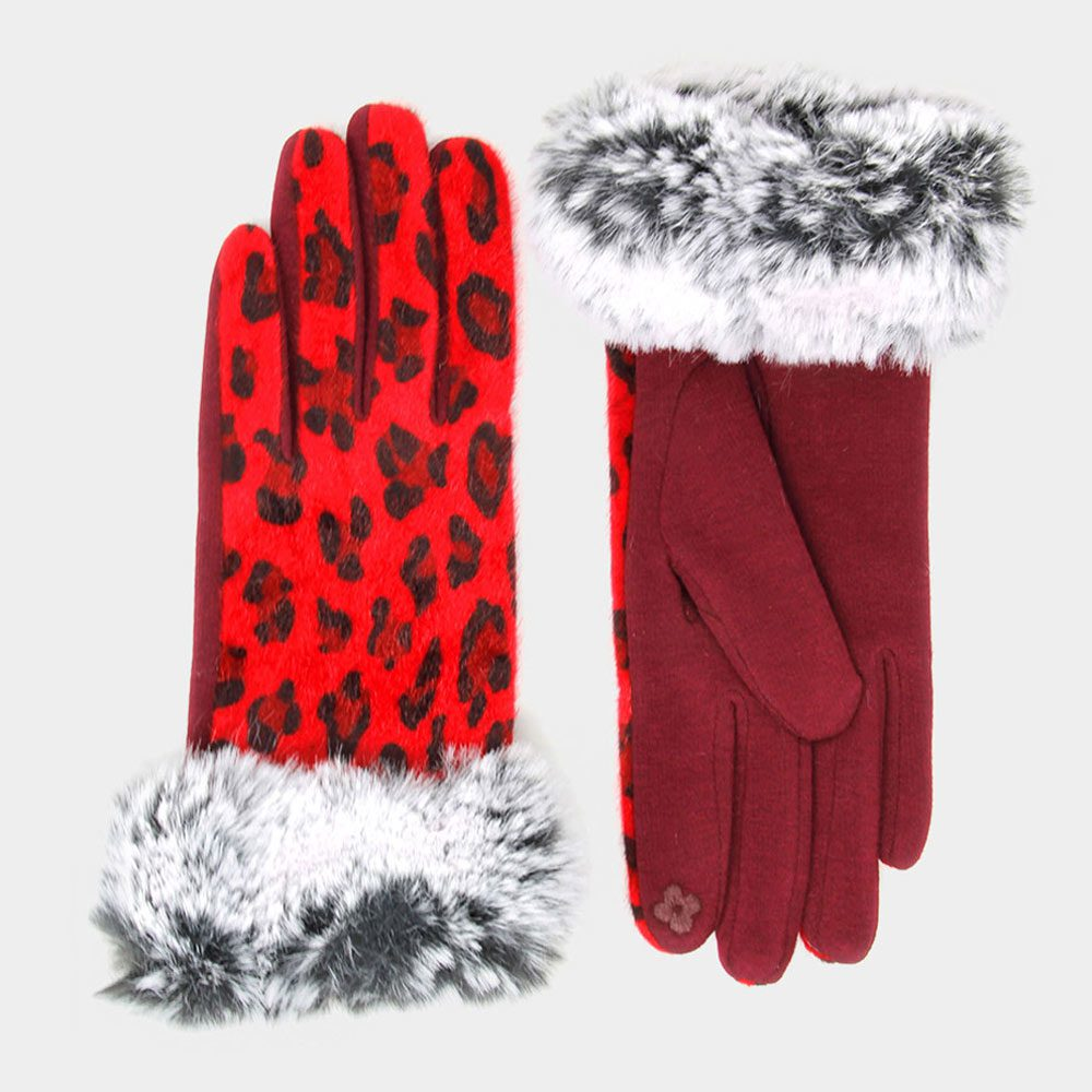 leopard print gloves - red