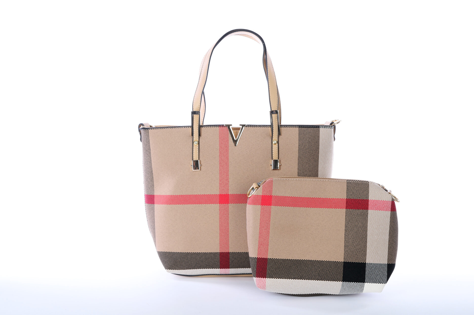 Plaid Handbag Set