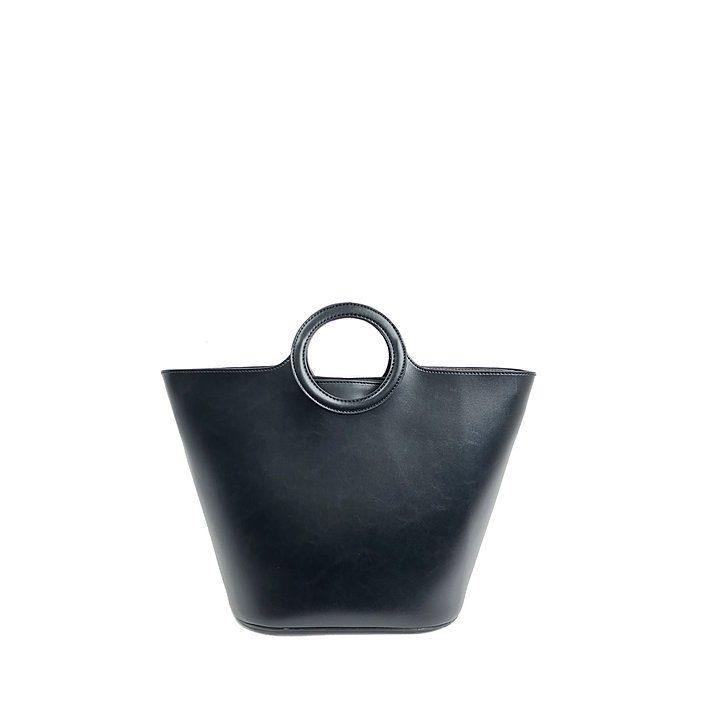 Vegan Leather Satchel - Black